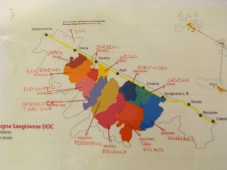 The map of Sangiovese Red Wine at International Museum of Pottery Faenza Emilia Romagna