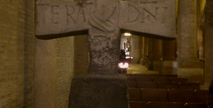 the old cross in the cathedral of forlì